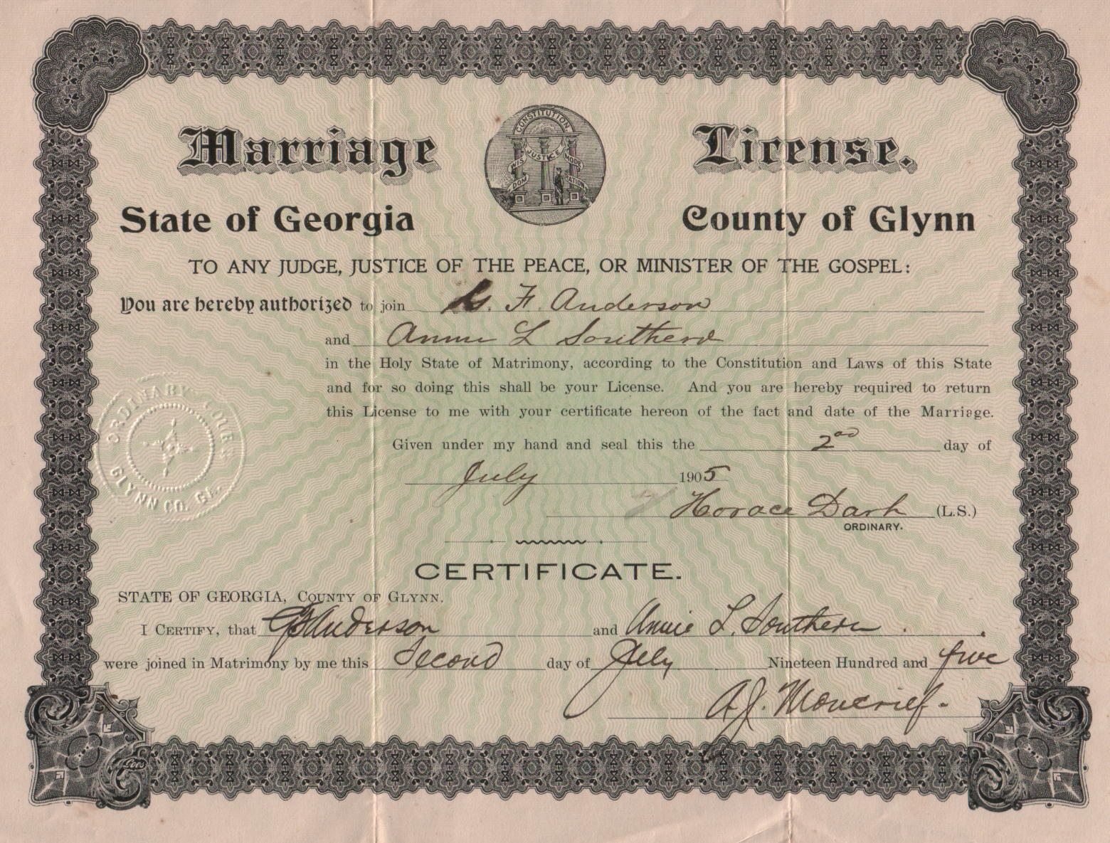 georgia and marriage and license